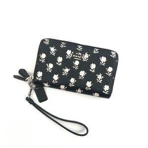 Coach Floral Rose Print Black Double Zip Wallet